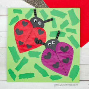 Heart Shape Cupcake Liner Ladybug Craft
