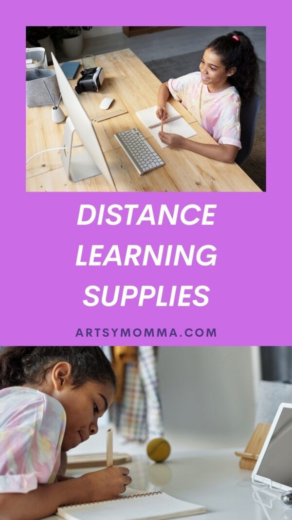Learning Supplies for Distance Learning - girl at computer
