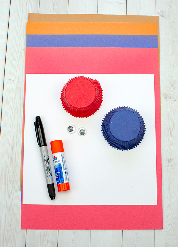 red and blue construction paper and cupcake liners