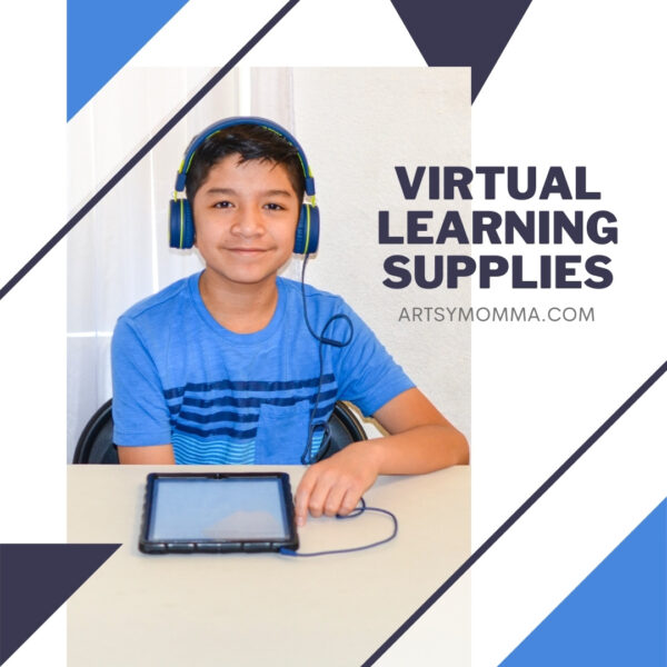 Supplies for Virtual Learning at Home - kid in headphones