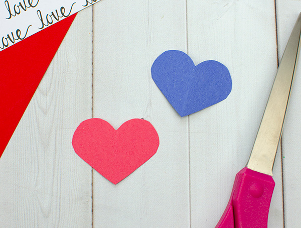 red & blue paper hearts