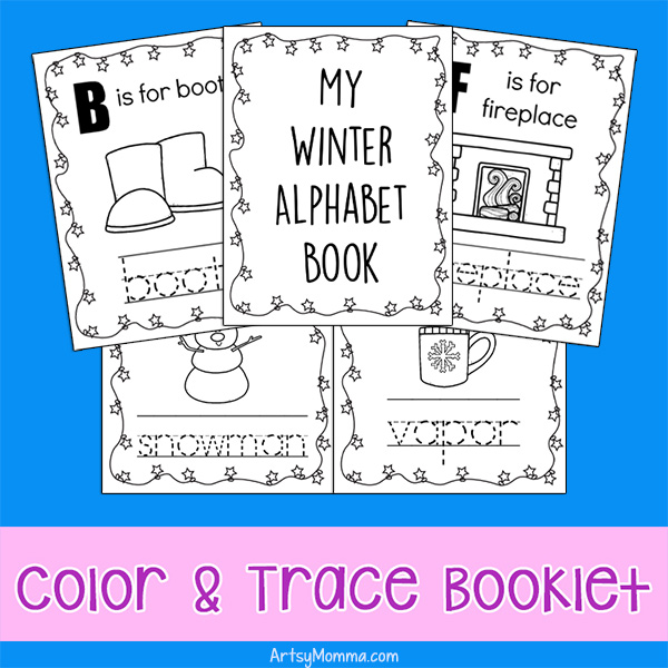Winter WOrds Color & Trace Mini Book Pages