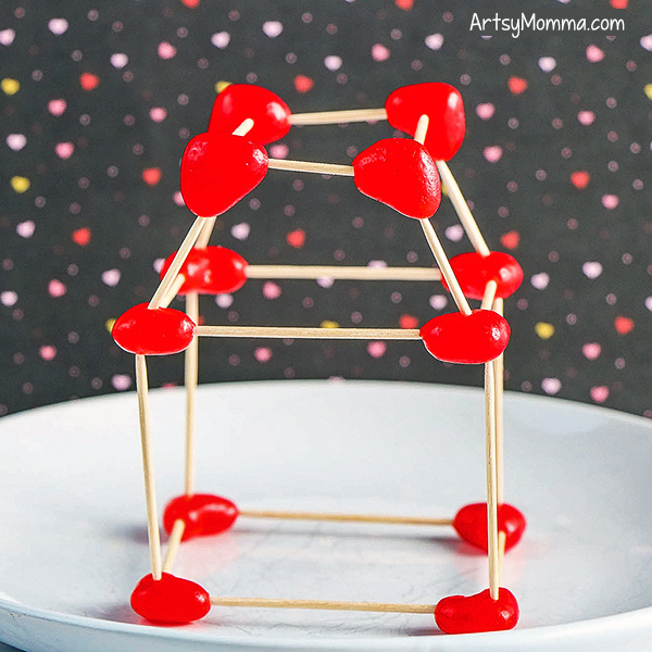 Structure made from Toothpicks &Heart Jelly Beans