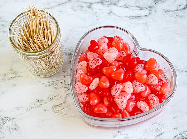 Heart Jelly Beans & Toothpicks