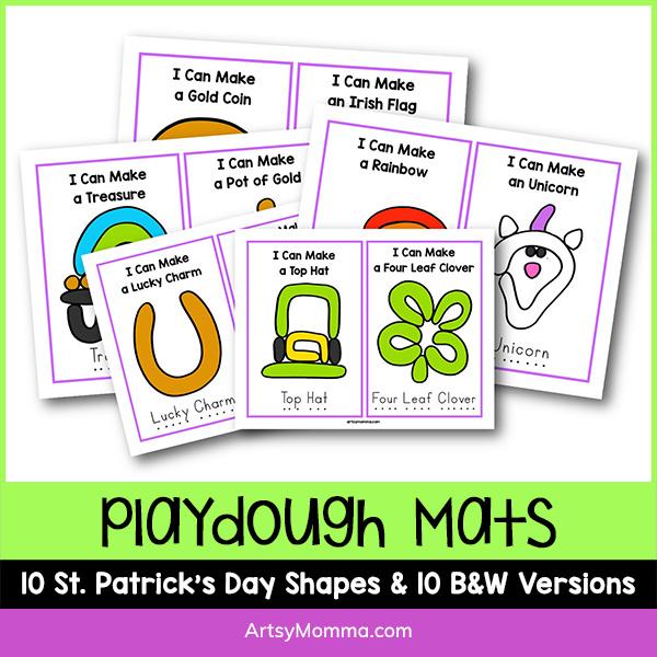Printable St. Patrick's Day Playdough Mats
