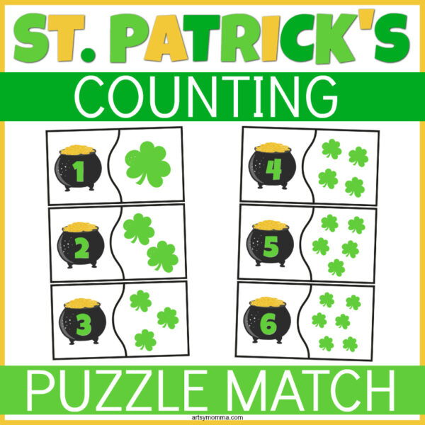 St. Patrick's Day Number Puzzles Printable