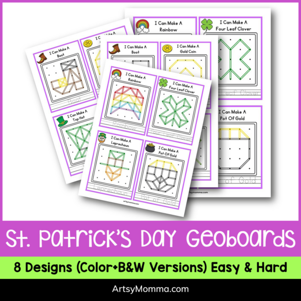 Printable Geoboard task cards for St. Patrick's Day