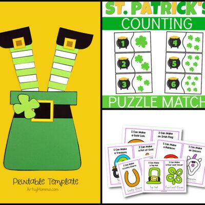 St. Patrick's Day Printables for Kids: Playdough Mats, Leprechaun Craft, Number Puzzles