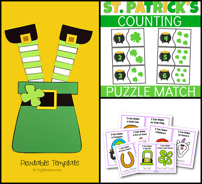 St. Patrick's Day Printables for Kids: Playdough Mats, Leprechaun Craft, Number Puzzles