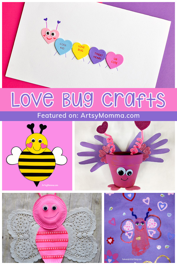 Bugs made with Hearts - caterpillar, bee, butterflies