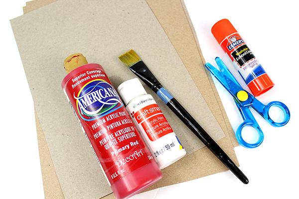 cut cereal box pieces, glue, paint