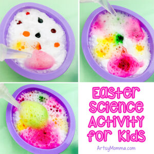 Vinegar & Baking Soda Erupting Science Experiment in Easter Egg Cookie Cutter