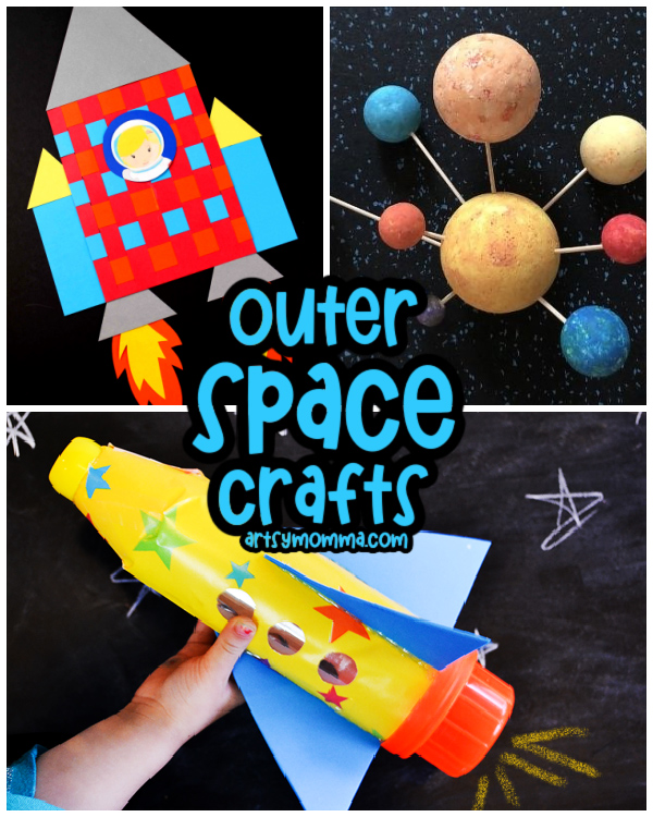 Outer Space Kids Craft Ideas: paper rocket, bottle rocket, 3D solar system