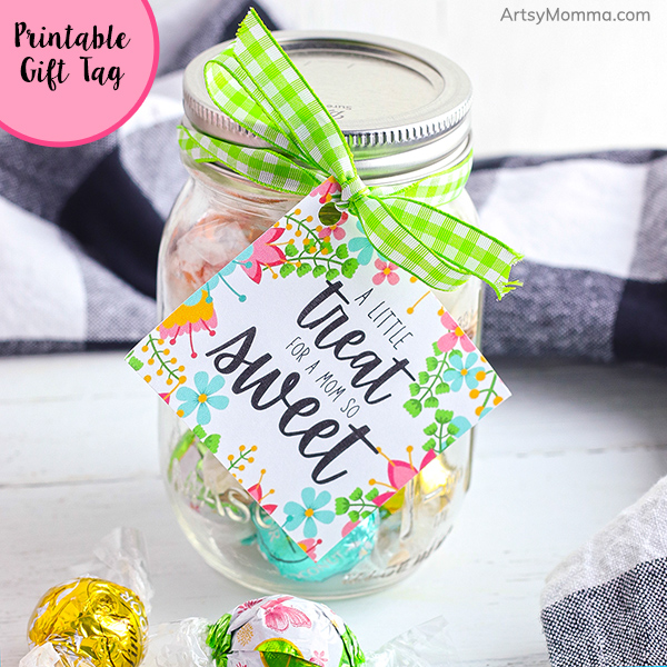 Gift Tag hanging from jar of treats for moms