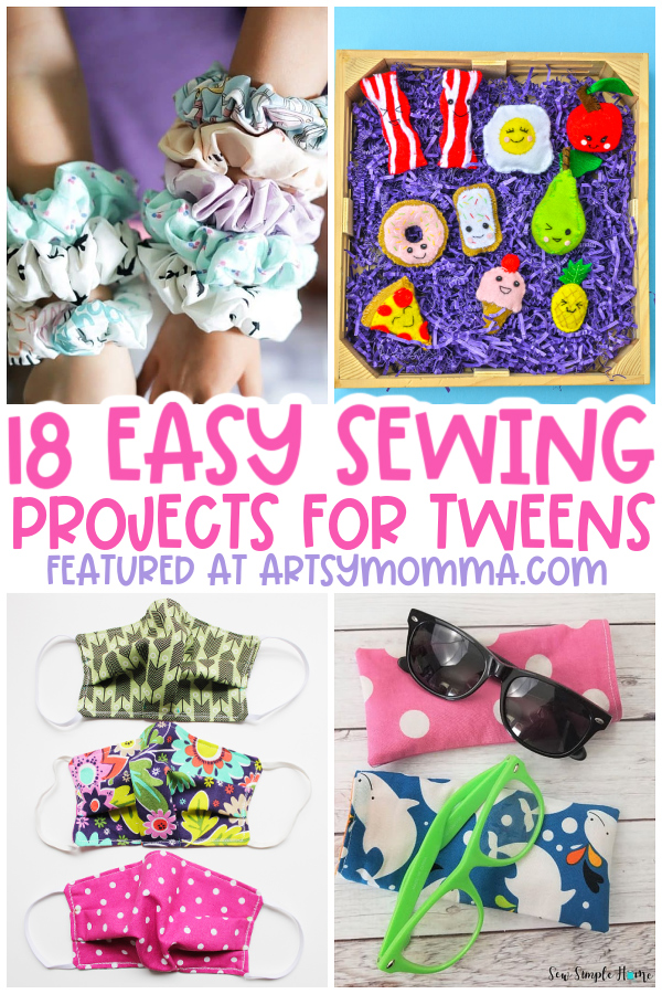 kids sewing crafts: scrunchies, face masks, felt food, glasses case