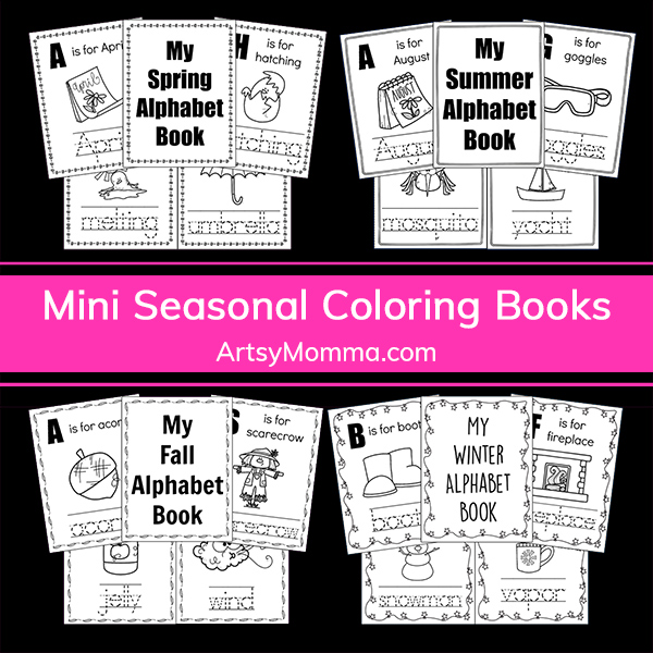 Seasonal Alphabet Mini Book Printables – Color & Trace