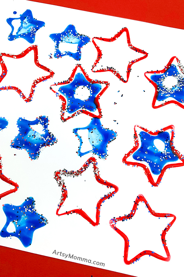 Glittery Painted Stars on Paper